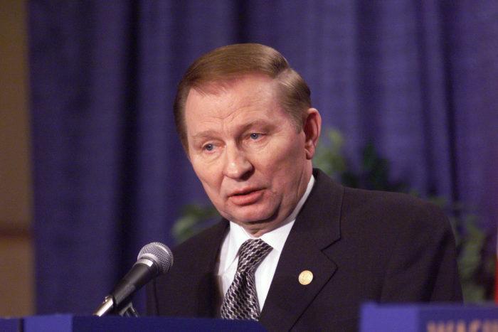 24th April 1999 NATO's 50th Anniversary Summit NATO - Ukraine (NUC) Press Conference in ITC Reagan Building. Centre:   President Leonid Kuchma (Ukraine).