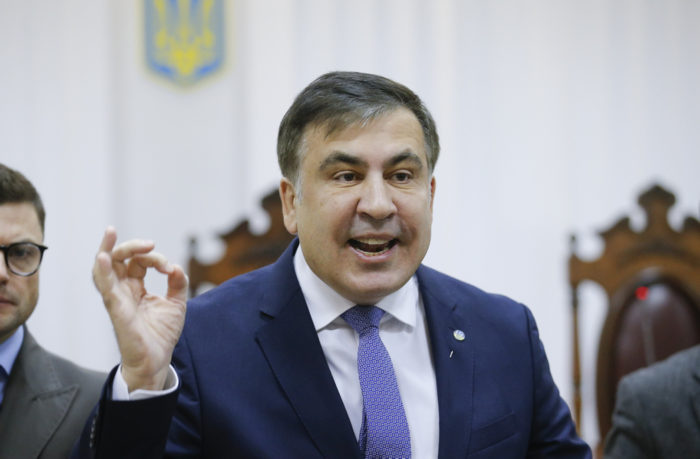 epa06414451 Former Georgian president and ex-governor of the Odessa region Mikheil Saakashvili speaks during a court hearing about a preventive punishment for Saakashvili at the appeal court in Kiev, Ukraine, 03 January 2018, where the trial was postponed until 11 January 2018. Saakashvili, the leader of the 'Movement of Popular Forces,' was detained in Kiev on 08 December after police discovered his whereabouts and then released by the Pecherskiy district court 11 December 2017. He was previously detained on 05 December but was freed from police custody by supporters. According to reports quoting the Prosecutor General of Ukraine Yuriy Lutsenko, Saakashvili, who is suspected of assisting a criminal organization.  EPA-EFE/SERGEY DOLZHENKO